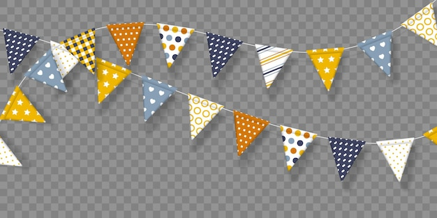 Bunting flags with geometric patterns. decorative elements isolated