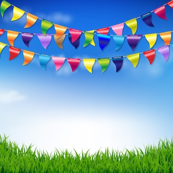 Bunting flags with sky and grass border