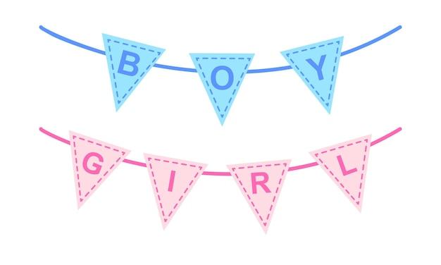 베이비 샤워 또는 성별 공개 파티를 위한 깃발 천 파란색과 분홍색 깃발이 있는 화환