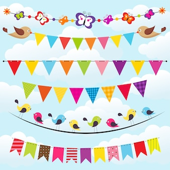 Bunting and garland set on the sky background