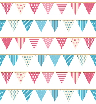 Bunting seamless pattern, bunting background, pink and blue bunting