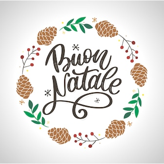 Buon natale  calligraphy template in italian. greeting card black typography