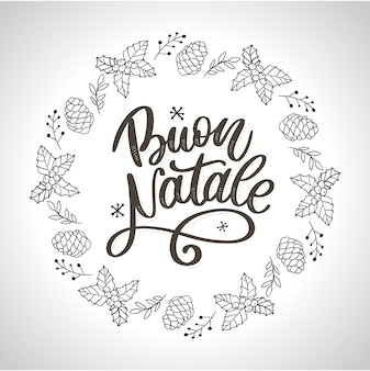 Buon natale calligraphy template in italian