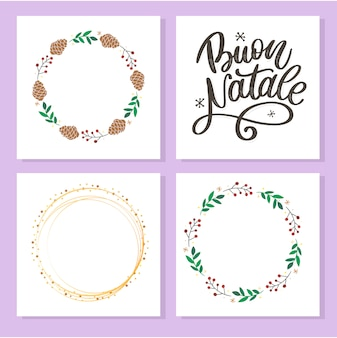 Buon natale, lettering and blank greeting cards with wreath and circle frames
