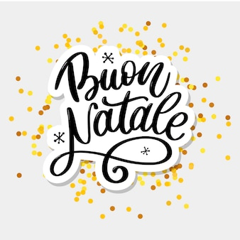 Buon natale lettering greeting card