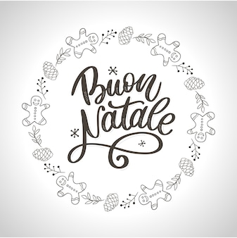 Buon natale. merry christmas calligraphy template in italian. greeting card black typography on white background.  illustration hand drawn lettering.
