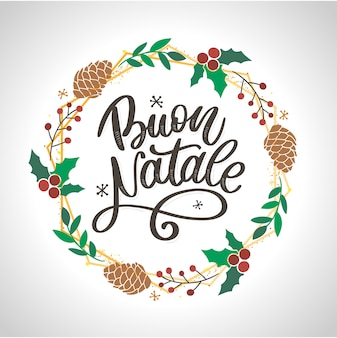 Buon natale. merry christmas calligraphy template in italian. greeting card black typography on white background. vector illustration hand drawn lettering.