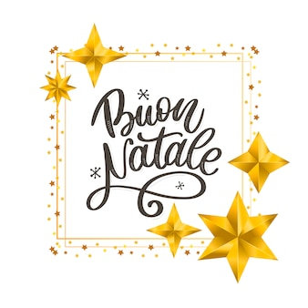 Buon natale. merry christmas calligraphy template in italian.