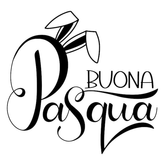 부오나 파스쿠아 레터링. 이탈리아어로 행복 한 부활절 다채로운 글자입니다. 손으로 쓴 부활절 문구. 계절의 인사