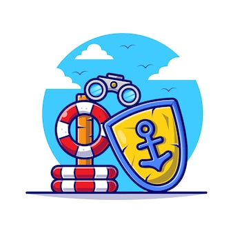 Buoy with binoculars and anchor for safety in summer cartoon flat illustration.