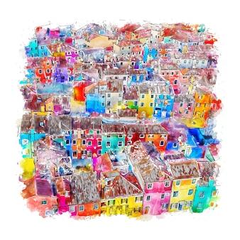 부 라노 베니스 이탈리아 수채화 스케치 손으로 그린 그림