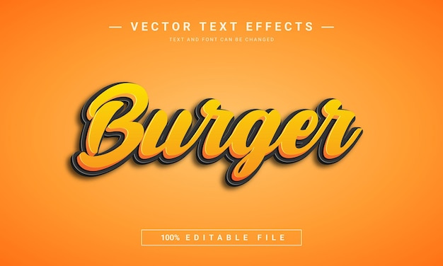 Burger 3d editable font effect design