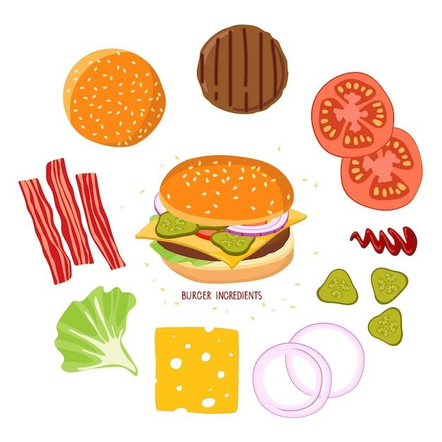 Ингредиенты для бургеров и бургеров набор продуктов для создания гамбургеров