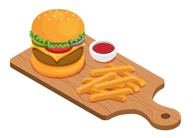 木の板にハンバーガーとフライドポテト