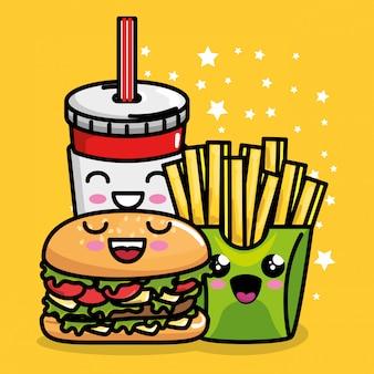 ハンバーガーとソーダカワイイのフライドポテト