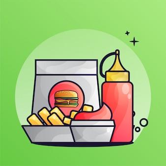 Бургер и картофель фри с томатным соусом gradient illustration