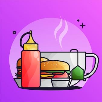 Бургер и горячий чай с томатным соусом gradient illustration
