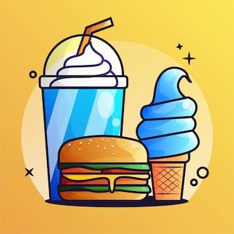 아이스크림 그라디언트 일러스트와 함께 햄버거와 얼음 음료