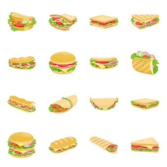 ハンバーガーとサンドイッチ漫画のアイコンを設定します。孤立したイラストファーストフード。ハンバーガーと原材料のアイコンセット。