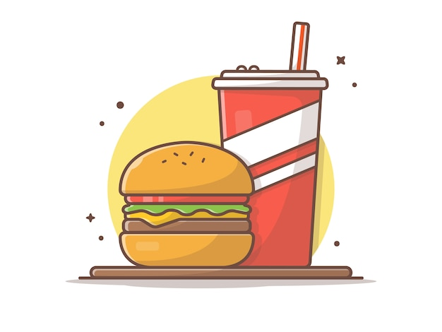 Бургер и сода с соломой на столе иллюстрации Premium векторы