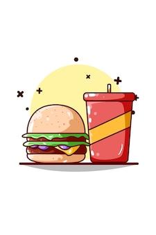 ハンバーガーとソフトドリンクのイラスト