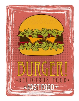 Burger announcement over grunge background vector