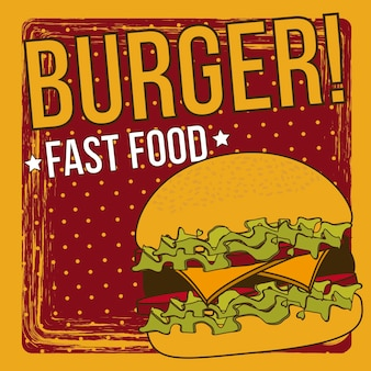 Burger announcement over grunge background