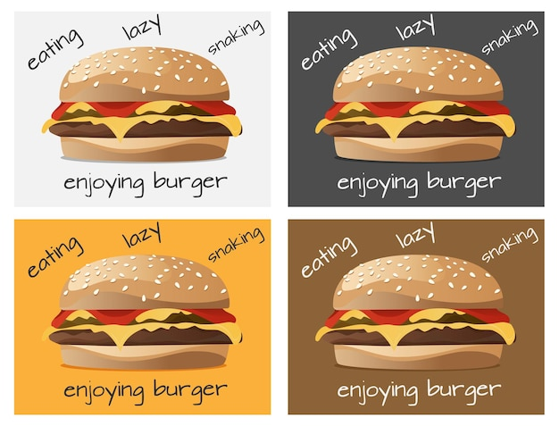いくつかのカラーテンプレートの選択肢のハンバーガーの背景デザイン