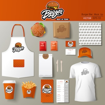 Burger bar corporate identity template design set. branding template,.