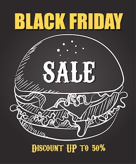 Burger big sale promo poster background vector. food black friday sale template. hand drawing burger.