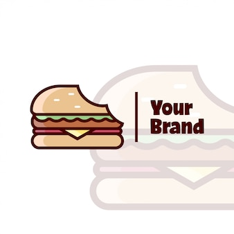 Burger biten cartoon logo для кулинарного бизнеса