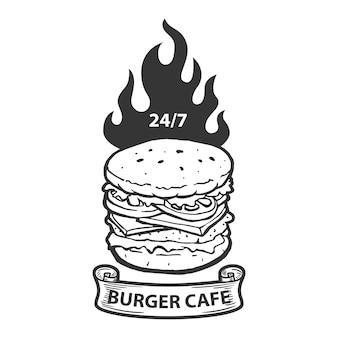 ハンバーガーカフェエンブレムテンプレート。火でハンバーガーイラスト。