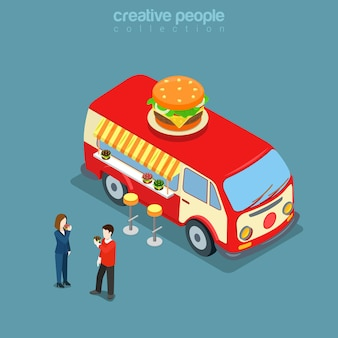 幸せなヒッピーバンフラットアイソメトリックコンセプトのハンバーガーカフェファーストフードストリートビストロレストラン