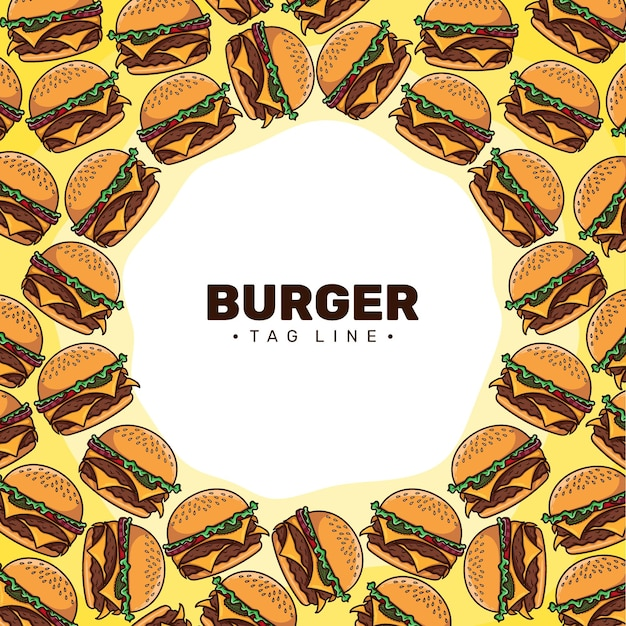 ハンバーガー漫画パターン背景ベクトル