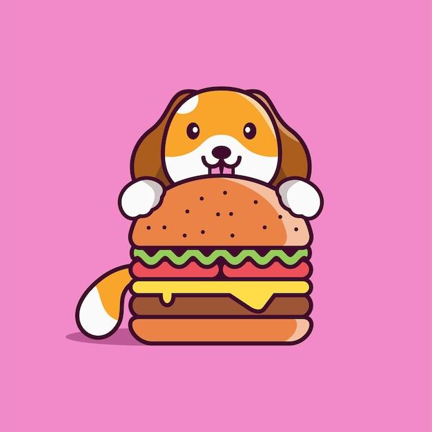 Бургер мультяшный с милой собакой вектор значок иллюстрации премиум векторы