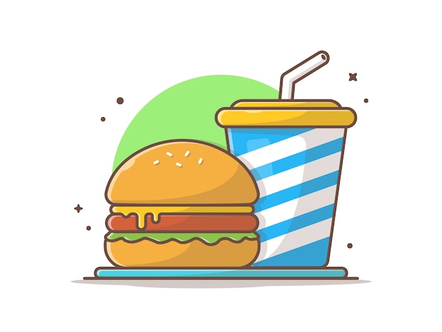 Burger clip-art with soda and ice vector clip-art illustration