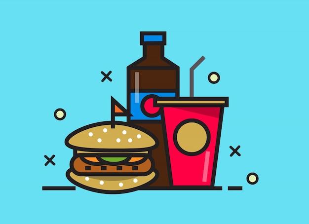Burger and cola drink. fast food meal. flat line design elements