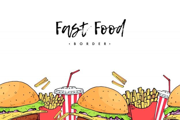 Burger. cola. potato free. colorful fast food hand draw