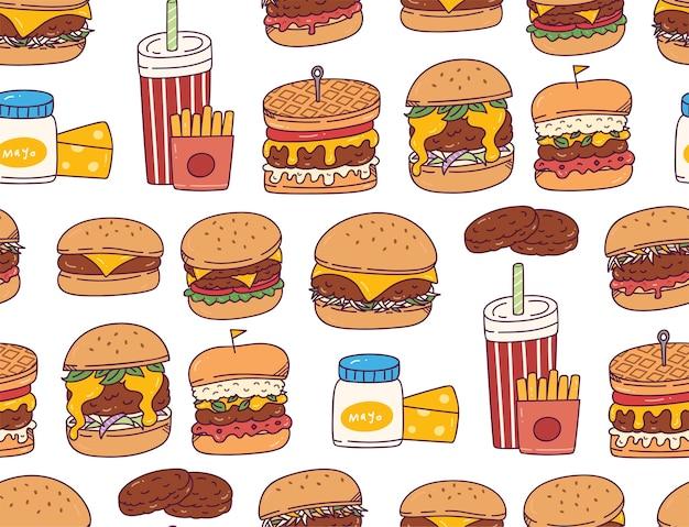 ハンバーガー落書きのシームレスパターン