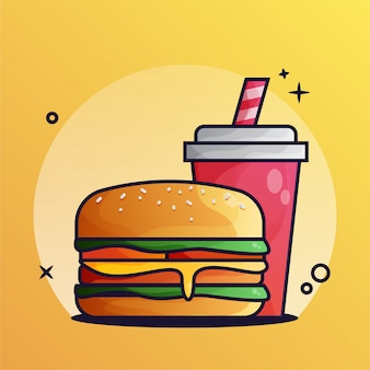 Burger and drink gradient illustration