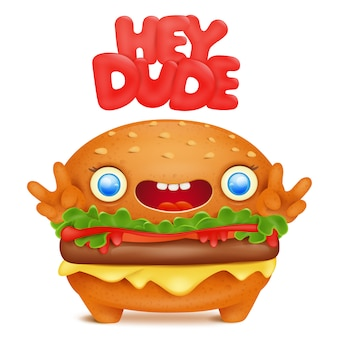 Burger emoji cute character with hey dude title.