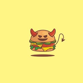 ハンバーガーの邪悪な顔の辛くてスパイシーなマスコット