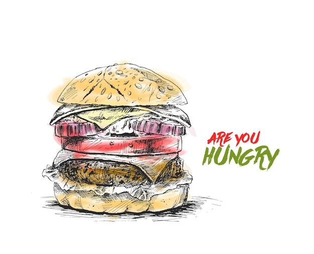 ハンバーガーファーストフードの概念手描きスケッチベクトル図