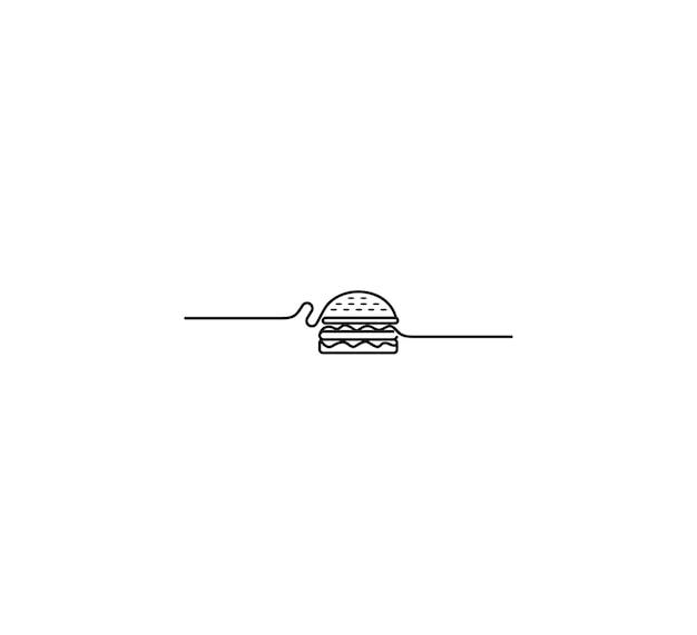 ハンバーガー-ファーストフードの概念、線画ベクトルイラスト。