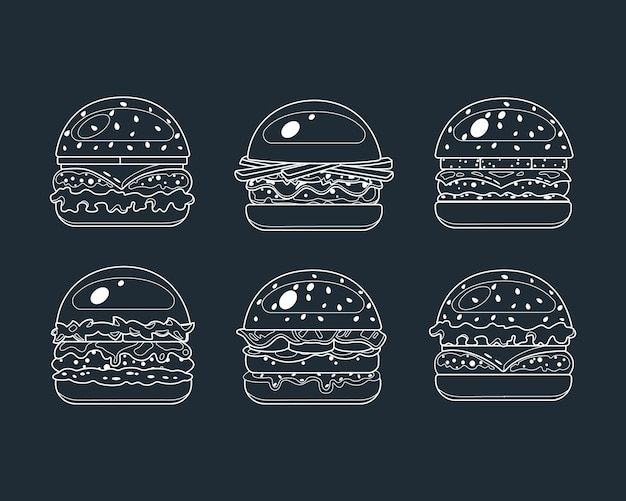 Burger, fast food icons in lyne style. vector food illustration.