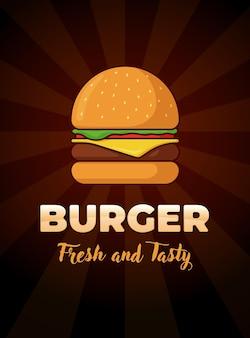 신선하고 맛있는 글자가 새겨진 버거 패스트 푸드 식사 광고 수직 포스터