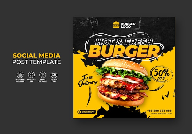 Burger fast food restaurant promotion for social media template.