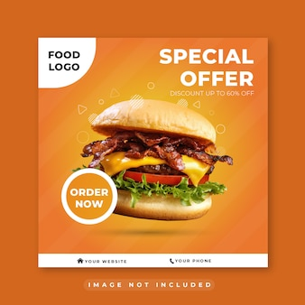 Burger fast food restaurant social media post