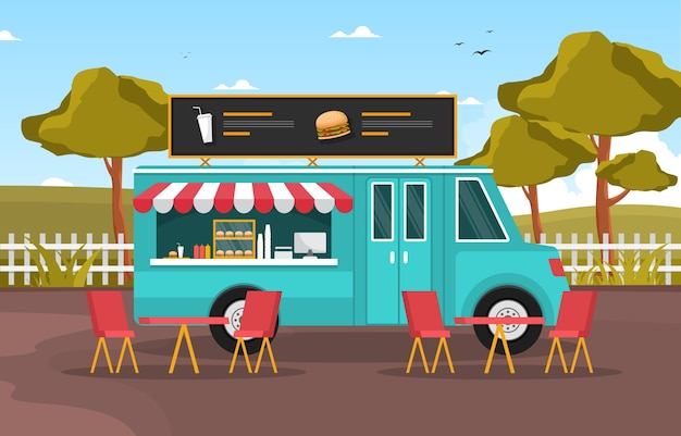 Burger fast food truck van car vehicle street shop illustration