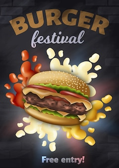 Burger festival poster, tasty hamburger